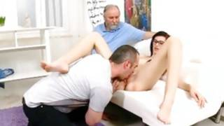 Green darling having satisfaction with two grown-up guys immersing huge hard dicks