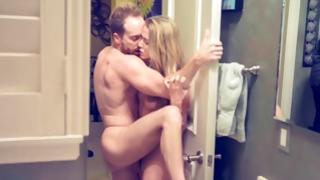 Skinny blonde in washroom getting her hole messed up