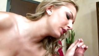 Magnific stiff angel is bent up and down while pounded