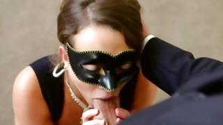 Dark-haired mouth-watering harlot is licking off a hard lollipop