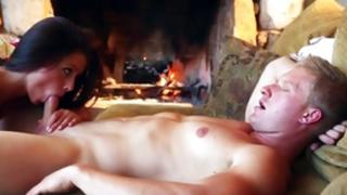 Stiff brown-haired wench is riding on the huge knob