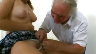 An old rude human is getting his manhood soaked up off by a cute girl