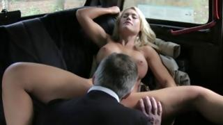 Raunchy sandy colored strumpet catches her mouth filled with dick