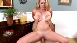 Messy wench is riding aroused on huge cock