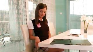 Watch on sexy brunette schoolgirl is posing amazing