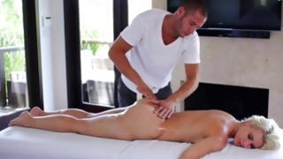 Blonde oily tramp got her massaged nicely