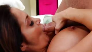 Salacious little skank is riding on greater penis