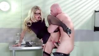 Amazing bright-haired in glasses has enchanting crazy sex
