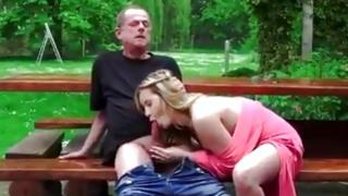 Extremely angry natural blonde sweetie invited grandad and fucked him raw