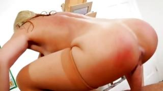 Captivating fair-haired tramp riding on meaty manhood