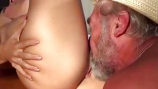 Unshaved haired sinless slit craze and human group-fucked by guffer