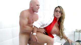 Amazing female in glasses has fine erotic action of love