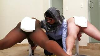 Eager Arabian strumpet playing with 2 massive cocks