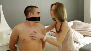 Blonde cutie is eaten on mouth by horny guy