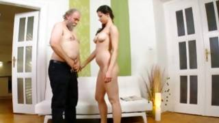 Dirty male is putting finger in her thin pussy
