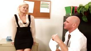 Light haired kinky gf is talking to bald head guy