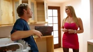Brutally hot blondie is talking to a wicked dude
