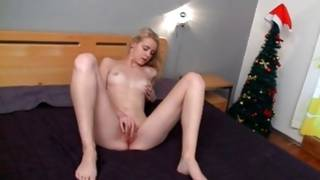 Stripped bright-haired doxy is touching her milk shakes