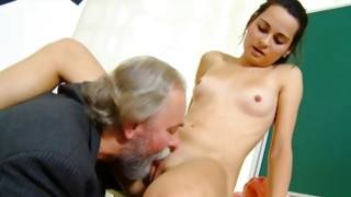 Mature dude is getting his lollipop pressed by the rude nude chick
