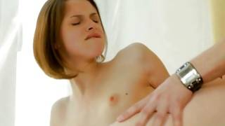 Precious young slut is sucking on the huge cute prick